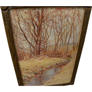 American vintage impressionist watercolor painting of small stream in autumn trees