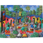 Haitian art colorful detailed contemporary naive style painting