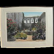 California memorabilia hand tinted pencil signed vintage photo of San Juan Capistrano mission