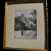 California memorabilia tinted vintage photo of Mission San Gabriel