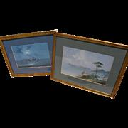 Italian art PAIR gouache paintings of Ischia and coast