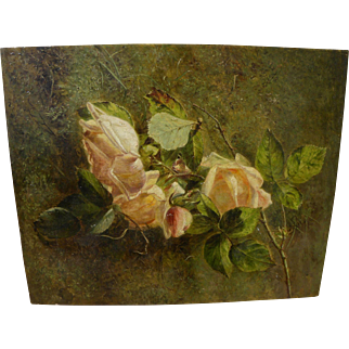 SOLD American art late 19th century realistic fine oil painting of roses