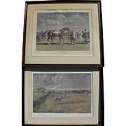 PAIR pencil signed equestrian prints by important English sporting artists A. J. MUNNINGS (187