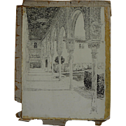 JOSEPH PENNELL (1857-1926) original 1896 published illustration drawing of the Alhambra by fam