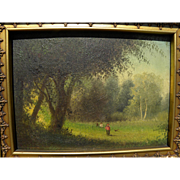 Circa 1875 old American oil landscape painting with tiny figures