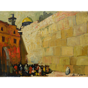 ADOLF ADLER (1917-1996) Jewish art painting of the Wailing Wall in Jerusalem by noted Romanian Jewish artist