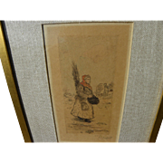 JEAN FRANCOIS RAFFAELLI (1850-1924) pencil signed color etching by important French realist pa