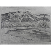 "PAUL LAURITZ (1889-1975) original pencil and ink drawing ""Teton Mountains"" by well l"