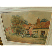 19th century English watercolor painting of cottage scene in Dorset signed W H FINCH