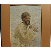 JOSEPH FRICERO (1807-1870) early watercolor painting of a man by French artist active on ...