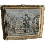 French art Paris mid 20th century impressionist street scene painting by listed artist V. ...