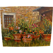 "CARIN GERARD (20th Century California) impressionist 1999 painting ""Terra Cotta Pots With"