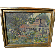 Impressionist painting of an English country cottage signed D. L. Groves