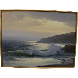EARL DANIELS (1920-1999) coastal seascape of Laguna Beach California by noted artist and instructor