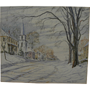 Winter street scene in New England town watercolor painting signed William Carpenter