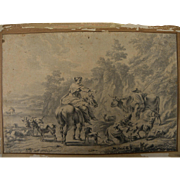 After NICOLAES BERCHEM (1620-1683) antique Dutch Old Master classical ink drawing of figures a