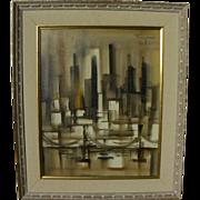 OZZ FRANCA (1928-1991) painting of city skyline by acclaimed CaliforniaMid Century artist
