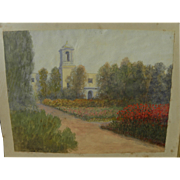 JOHN LOUIS BERTRANT COMPARET (1848-1929) watercolor of California mission or church dated 1916