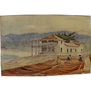 SOLD WILLIAM ADAM (1846-1931) historical early California art watercolor painting of the Custo