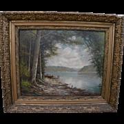 ELBRIDGE J. FENN (1857-1934) nicely framed vintage painting of upstate lake landscape by liste