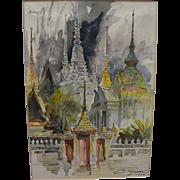 CHALERM NAKIRAKS (1917-2002) watercolor painting of Bangkok temples by important Thai National Artist