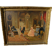 """GIOVANNI PANZA (1894-1989) painting of 18th century salon scene """"The Reception"""" by f"""