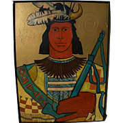 Painting of a Native American by contemporary artist ROBIN GARY WOOD, Taos New Mexico 1992