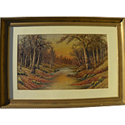 "SOLD Silk hand-embroidery landscape ""painting"""