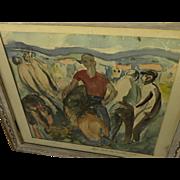 "BERNARD ZAKHEIM (1896-1985) watercolor painting ""Mural Study for Monterey"" dated 192"