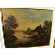 English or European 19th century primitive landscape painting of cottage, lake and figure in s