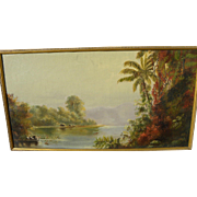 Atmospheric late 19th century tropical landscape painting in style of California artist Norton