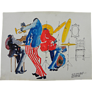 LEO MEIERSDORFF (1934-1994) original watercolor and ink drawing of New Orleans jazz scene by n