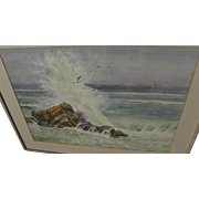 Chinese contemporary watercolor seascape painting signed WANG ZHI BIN dated 1991