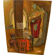SAUL RASKIN (1878-1966) original oil painting of a synagogue by the important Jewish artist and intellectual