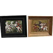 PORTER WOODRUFF (1894-1959) **PAIR** of elegant and decorative paintings of men and horses by