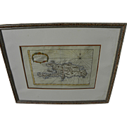 Antique 1757 map of Caribbean island of Hispaniola by cartographer Jacques Nicolas Bellin
