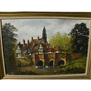 MALCOLM GEARING (1947-) English art detailed painting of a half-timbered country home by a sma