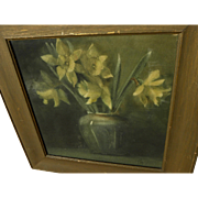 Arts and Crafts feeling signed old watercolor painting of daffodils in a green pottery vase