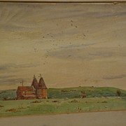 F.L. BLANCHARD English watercolor peaceful landscape listed artist