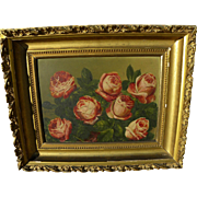 CHARLES STORER (1817-1907) still life painting of roses by well listed Boston artist