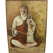 PARSHOTAM SINGH (c. 1935-) Indian contemporary art painting of old man playing musical instrum