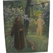 French impressionist circa 1910 whimsical painting of priest encountering young nude woman in