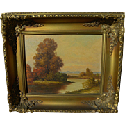 Small framed autumn landscape painting signed R. Potter