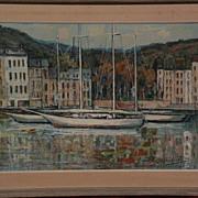 RAFAEL ORTEGA (1932-) listed Spanish art impressionist harbor painting