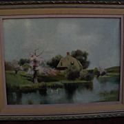 American impressionist art early 20th century style painting of Henry Pember Smith cottage and