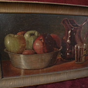 American late 19th century art still life painting apples and pitcher