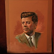 JOHN F. KENNEDY original pastel painting presidential memorabilia and collectibles