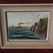 American marine art oil on glass painting of steam ship by cliffs