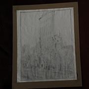 CHARLES VEZIN (1858-1942) American impressionist art charcoal or pencil drawing of Flatiron Bu