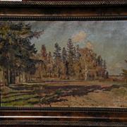 LEONID BORISOVICH YANUSH (1897-1978) Russian art 1951 impressionist forest landscape signed pa